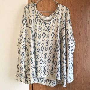 Maurice's Size 3 Cream and Navy Patterned Sweater
